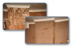 Before and after picture of wall plastering
